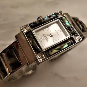 STUDIO Abalone & Diamond Silver Watch Bracelet